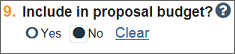 Include in proposal budgets - choose: no